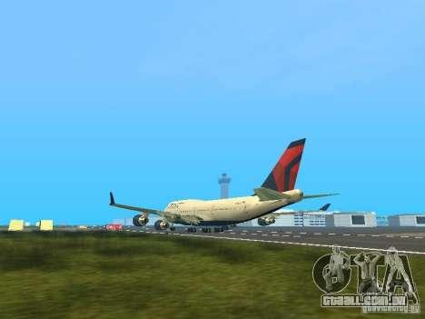 Boeing 747-400 Delta Airlines para GTA San Andreas traseira esquerda vista