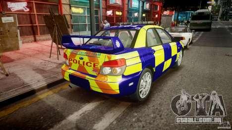 Subaru Impreza WRX Police [ELS] para GTA 4 vista lateral