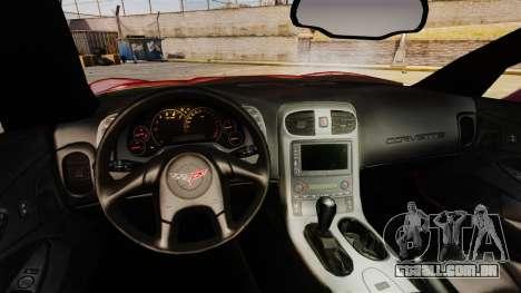 Chevrolet Corvette Z51 para GTA 4 vista de volta