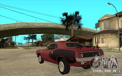 Plymouth Cuda 426 para GTA San Andreas traseira esquerda vista