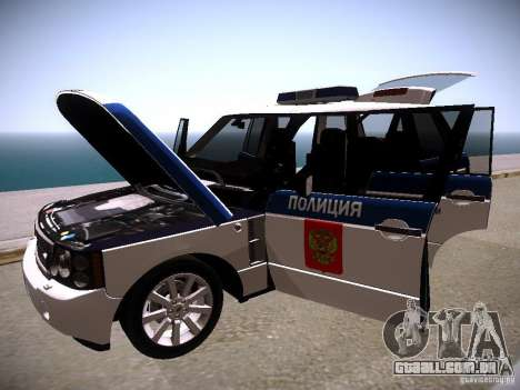Range Rover Supercharged 2008 polícia departamen para GTA San Andreas vista superior