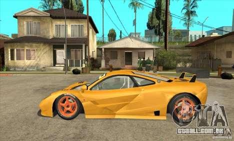 McLAREN F1 GTR GULF 1996 para GTA San Andreas esquerda vista