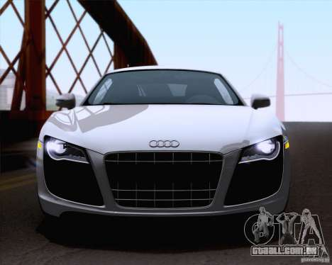 Audi R8 v10 2010 para GTA San Andreas traseira esquerda vista