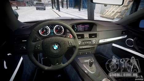 BMW M3 E92 stock para GTA 4 vista de volta