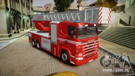 Scania Fire Ladder v1.1 Emerglights blue [ELS] para GTA 4 vista direita