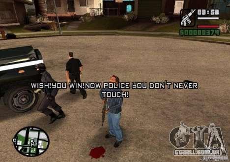 Ganhou liberdade de polícia 1.0 para GTA San Andreas terceira tela