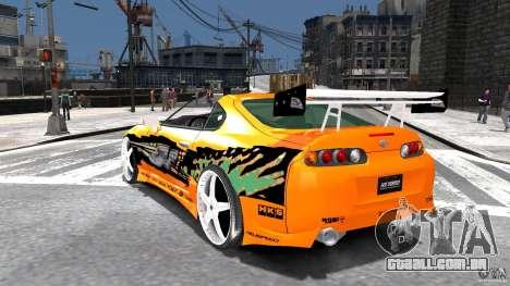 Toyota Supra Fast And Furious para GTA 4 traseira esquerda vista