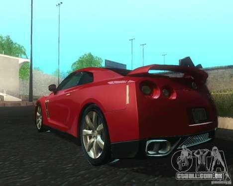 Nissan GTR R35 Spec-V 2010 Stock Wheels para GTA San Andreas traseira esquerda vista