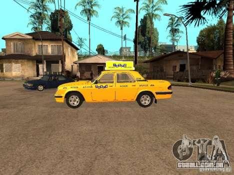 Volga GAZ-31105 táxi para GTA San Andreas esquerda vista