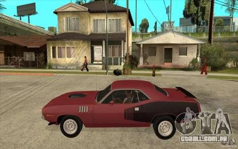 Plymouth Cuda 426 para GTA San Andreas esquerda vista
