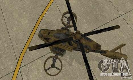 Um helicóptero do jogo TimeShift Brown para GTA San Andreas vista traseira