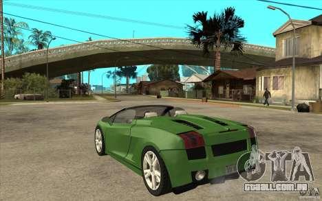 Lamborghini Gallardo Spyder para GTA San Andreas traseira esquerda vista