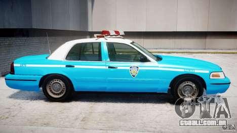Ford Crown Victoria Classic Blue NYPD Scheme para GTA 4 traseira esquerda vista