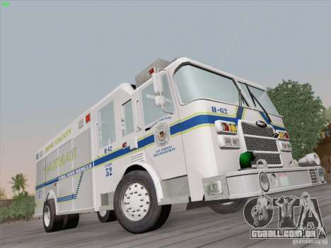 Pierce Fire Rescues. Bone County Hazmat para GTA San Andreas vista direita