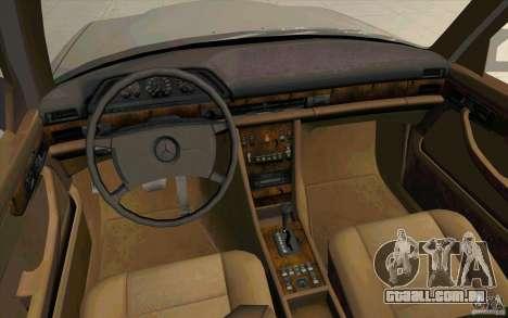 Mercedes Benz 560SEL w126 1990 v1.0 para GTA San Andreas vista traseira