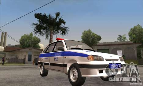 ВАЗ 2114 polícia para GTA San Andreas vista traseira