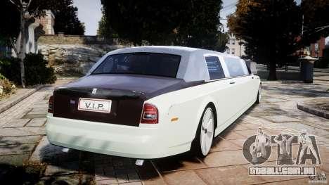 Rolls Royce Phantom Sapphire Limousine Disco para GTA 4 traseira esquerda vista