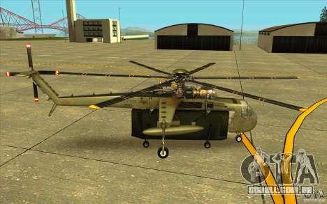 Sikorsky CH-54 Tarhe para GTA San Andreas esquerda vista