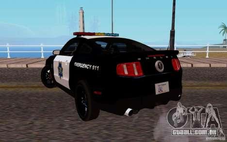 Ford Shelby Mustang GT500 Civilians Cop Cars para GTA San Andreas traseira esquerda vista