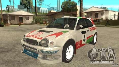 Toyota Corolla 1999 Rally Champion para GTA San Andreas traseira esquerda vista