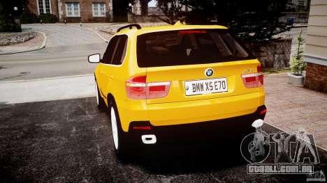 BMW X5 E70 v1.0 para GTA 4 traseira esquerda vista