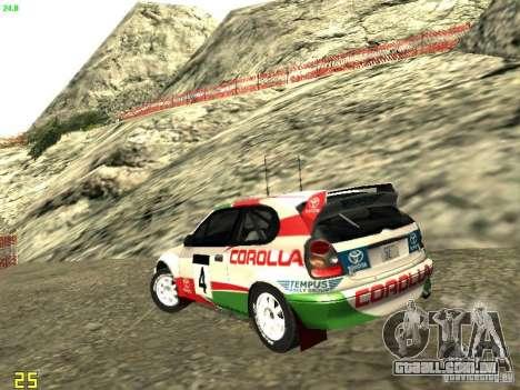 Toyota Corolla 1999 Rally Champion para GTA San Andreas esquerda vista
