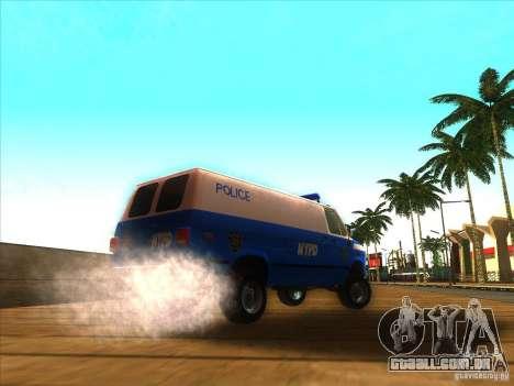 Chevrolet Van G20 BLUE NYPD 1990 para GTA San Andreas traseira esquerda vista
