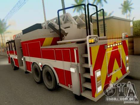 Pierce Firetruck Ladder SA Fire Department para GTA San Andreas vista direita