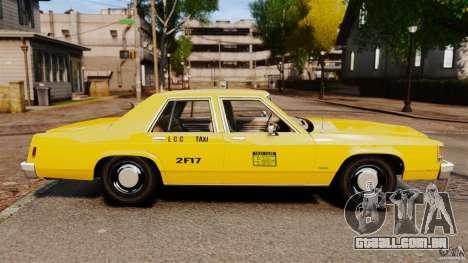 Ford LTD Crown Victoria 1987 L.C.C. Taxi para GTA 4 esquerda vista