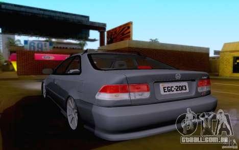 Honda Civic 1999 para GTA San Andreas traseira esquerda vista