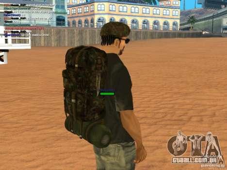 Military backpack para GTA San Andreas por diante tela