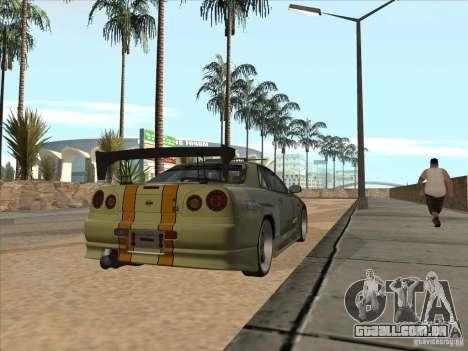 Nissan Skyline R34 VeilSide para GTA San Andreas interior