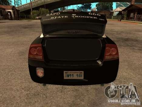 Dodge Charger RT Police para vista lateral GTA San Andreas