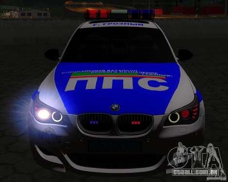 BMW M5 E60 polícia para GTA San Andreas vista superior