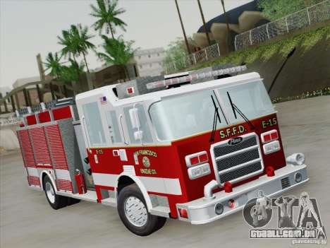 Pierce Pumpers. San Francisco Fire Departament para GTA San Andreas esquerda vista