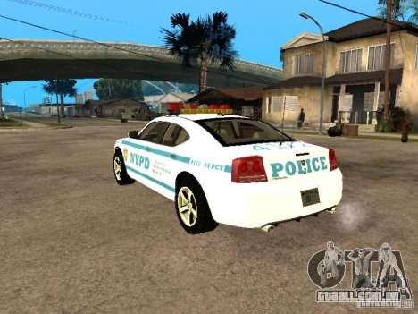 Dodge Charger Police NYPD para GTA San Andreas esquerda vista