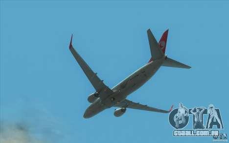 Boeing 737-800 THY para GTA San Andreas vista traseira