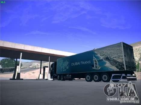 Trailer de Scania R620 Dubai Trans para GTA San Andreas traseira esquerda vista