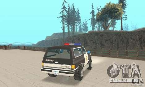 Chevrolet Blazer Sheriff Edition para GTA San Andreas traseira esquerda vista