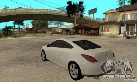 Pontiac G6 Stock Version para GTA San Andreas traseira esquerda vista