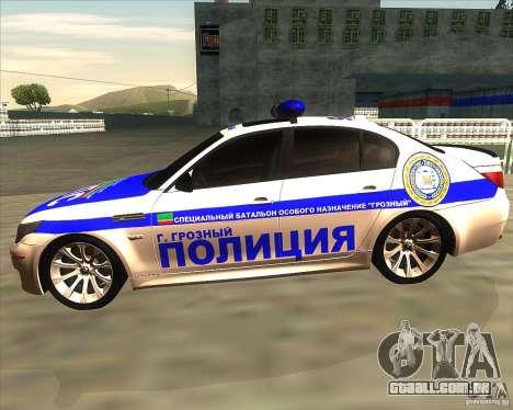 BMW M5 E60 polícia para GTA San Andreas esquerda vista