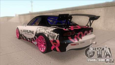 Mazda RX-7 FD K.Terej para GTA San Andreas traseira esquerda vista