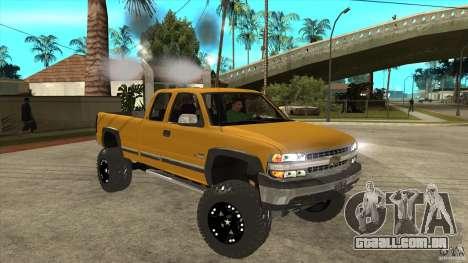 Chevrolet Silverado 2500 Lifted para GTA San Andreas vista traseira