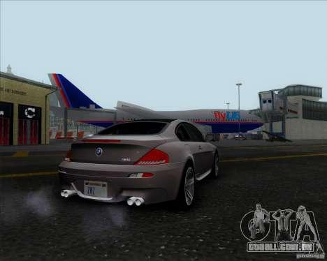 BMW 6 Series M para GTA San Andreas traseira esquerda vista