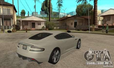 Aston Martin DBS para GTA San Andreas vista direita