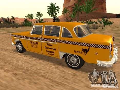 Checker Marathon Yellow CAB para GTA San Andreas esquerda vista