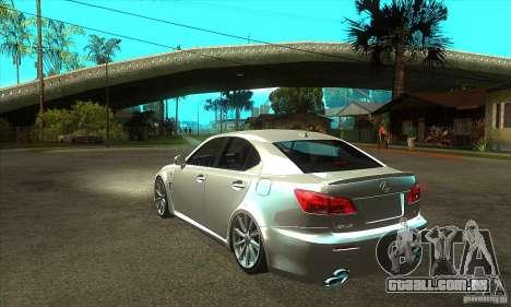 Lexus IS F 2009 para GTA San Andreas vista traseira