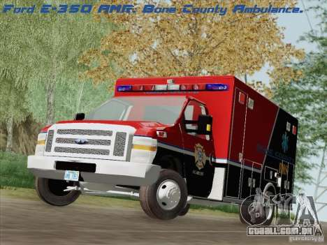 Ford E-350 AMR. Bone County Ambulance para GTA San Andreas