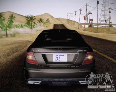 Mercedes-Benz C63 AMG Black Series para GTA San Andreas vista traseira