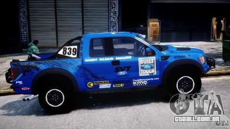 Ford F150 Racing Raptor XT 2011 para GTA 4 vista interior